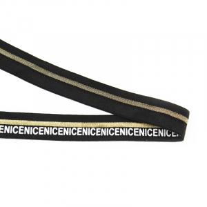 Резинка декоративная №21 черная золото полоса белая надпись NICE 2см