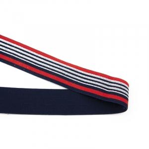 Резинка декоративная №20 красный синий полосы серебро люрекс 3,5см