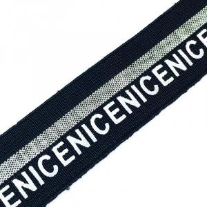 Резинка декоративная №21 черная серебро полоса белая надпись NICE 2см уп 10 м