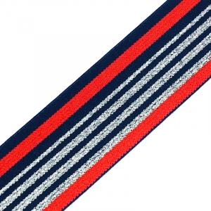 Резинка декоративная №20 красный синий полосы серебро люрекс 3,5см уп 10 м