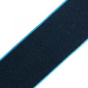 Резинка декоративная №17 черный кант бирюза 4см уп 10 м