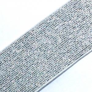 Резинка декоративная 2284 серебро  с люрексом 4см уп 10 м