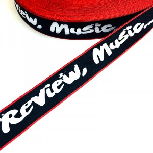 Тесьма черная красный кант надпись Fashion Review 2,5см 1метр уп 10 м