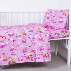 Постельное белье в детскую кроватку из бязи 317/2 Овечки розовый с простыней на резинке