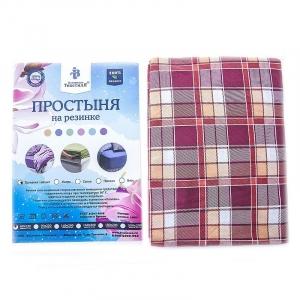 Простыня трикотажная на резинке Премиум цвет клетка красная 60/120/12 см