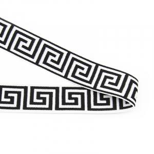 Резинка декоративная №14 белый с черным орнаментом 4см
