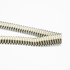 Лампасы №136 черный молочный поперек золото люрекс 2,5 см 1 метр