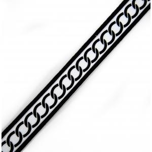 Лампасы №125 черный белый с кольцами 3см 1 метр
