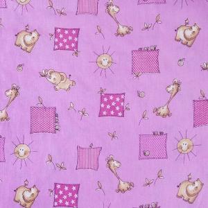 Бязь ГОСТ детская 150 см 366/3 Жирафики цвет розовый