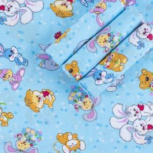 Набор детских пеленок бязь 4 шт 90/120 см 4605/1 Солнца лучик золотой цвет голубой