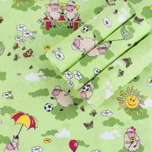 Набор детских пеленок бязь 4 шт 90/120 см 317/3 Овечки зеленый