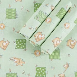 Набор детских пеленок бязь 4 шт 90/120 см 366/2 Жирафики цвет зеленый