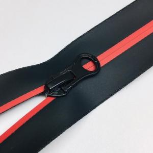 Молния спираль №7 н/р 18см водостойкая D519 красный черная тесьма
