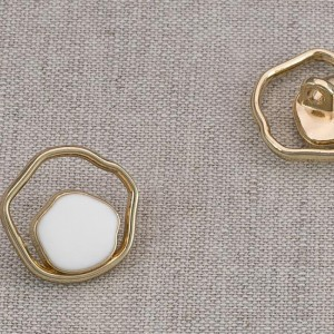 Пуговица металл ПМ87 18мм золото белая эмаль уп 12 шт