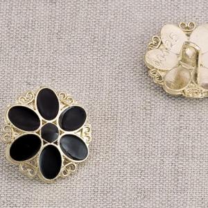Пуговица металл ПМ89 19мм золото цветок черная эмаль уп 12 шт