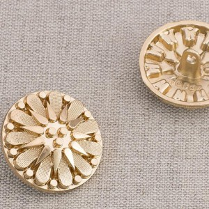 Пуговица металл ПМ91 24мм золото цветок уп 12 шт
