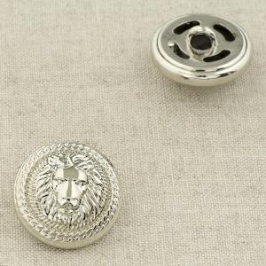 Пуговица металл ПМ92 22мм серебро лев уп 12 шт