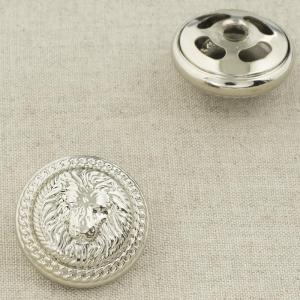 Пуговица металл ПМ92 26мм серебро лев уп 12 шт