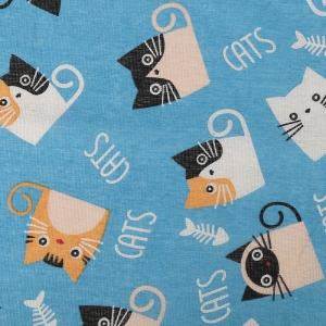 Ткань на отрез лен TBY-DJ-36 Котики