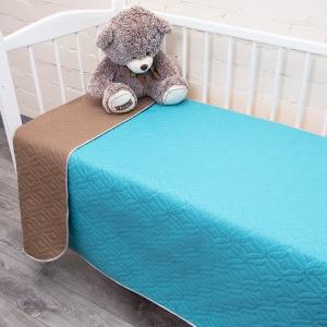 Покрывало детское ультрастеп двухстороннее цвет изумруд-коричневый 105/150 см