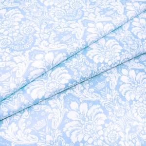 Ткань на отрез поплин 220 см 115 г/м2 391/3 Дамаск цвет голубой