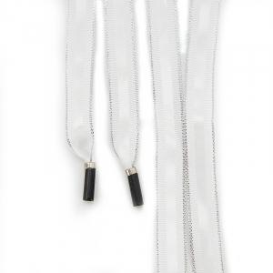 Шнур плоский белый полоса серебро с декор наконечник металл 130см уп 2 шт