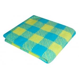Одеяло детское байковое жаккардовое Клетка 140/100 см синий/желтый
