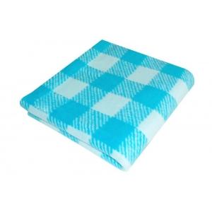 Одеяло детское байковое жаккардовое Клетка 140/100 см синий/голубой