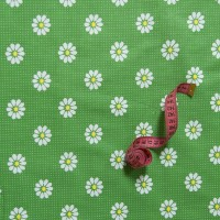 Бязь плательная 150 см 1502/1 Ромашки цвет зеленый