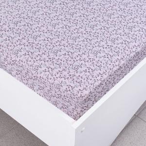 Простыня трикотажная на резинке цвет цветы43 розовый 90/200/20 см