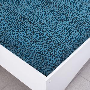 Простыня трикотажная на резинке цвет леопард2  90/200/20 см