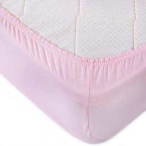 Простыня трикотажная на резинке Премиум М-2011 цвет розовый 90/200/20 см