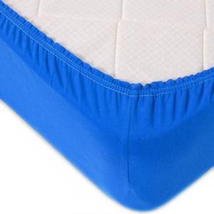 Простыня трикотажная на резинке Премиум цвет синий 120/200/20 см