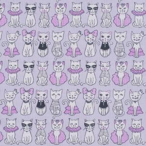 Ткань на отрез бязь ГОСТ Шуя 150 см 9949/4 Котики цвет розовый