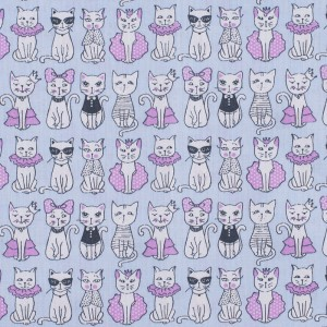 Ткань на отрез бязь ГОСТ Шуя 150 см 9949/2 Котики цвет голубой