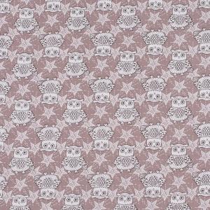 Ткань на отрез бязь ГОСТ Шуя 150 см 9946/4 Совушки цвет кофе