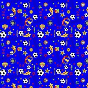 Ткань на отрез вафельное полотно набивное 150 см 388/4 Футбол цвет синий