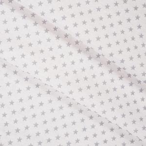 Ткань на отрез бязь плательная 150 см 8133/2 Звезды мелкие 0,5 серый б/з
