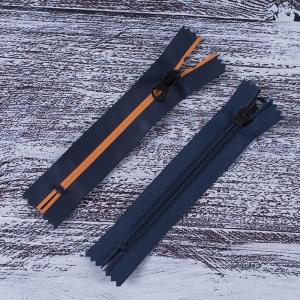 Молния водостойкая №7В5 полоса матовый н/р 16см темно синий 058/оранж 006