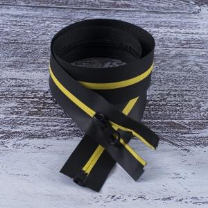 Молния водостойкая №7В5 полоса матовый разъем 60см черный/желтый 001