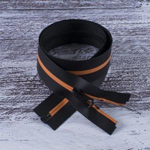 Молния водостойкая №7В5 полоса матовый разъем 60см черный/оранж 006
