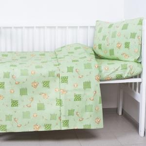 КПБ в детскую кроватку 120гр/м2 с нав.40/60 366/2 Жирафики цвет зеленый (Б)