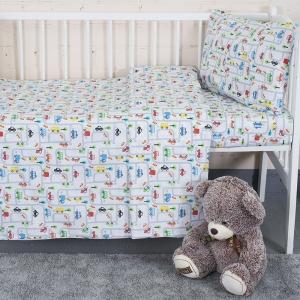 Постельное белье в детскую кроватку из перкаля 13180/1 Дорога