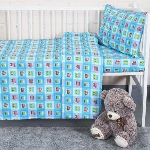 Постельное белье в детскую кроватку из перкаля 13181/1 Авто