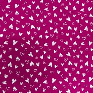 Купить ткань на отрез кулирка R2036-V1 Сердечки цвет ярко-розовый напрямую от производителя - 1mtkani.ru
