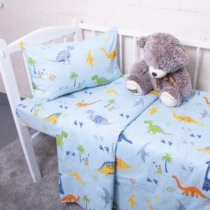Постельное белье в детскую кроватку из бязи 464-1 Дино голубой