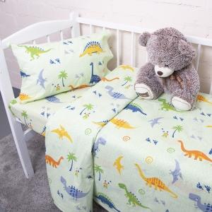 Постельное белье в детскую кроватку из бязи 464-2 Дино салатовый