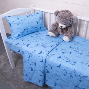 Постельное белье в детскую кроватку из бязи 9760/1 Акулы