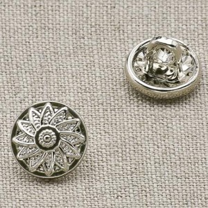 Пуговица металл ПМ23 8мм никель цветок уп 12 шт