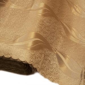 Портьерная ткань 150 см на отрез 3 цвет золото листья